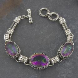 Sterling Silver Mystic Topaz 'Cawi' Bracelet (Indonesia)