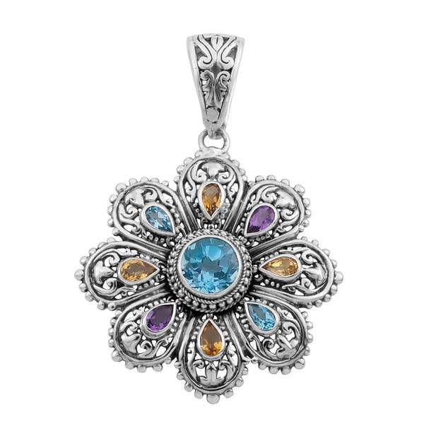 Sterling Silver Multi Gemstone 'Cawi' Pendant (Indonesia)
