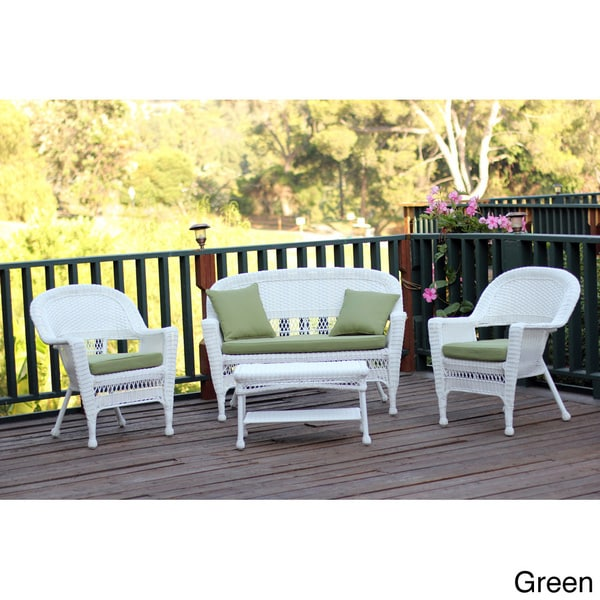 White Wicker 4 piece Patio Conversation Set Overstock Shoppi