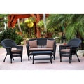 Black Wicker 4-piece Patio Conversation Set