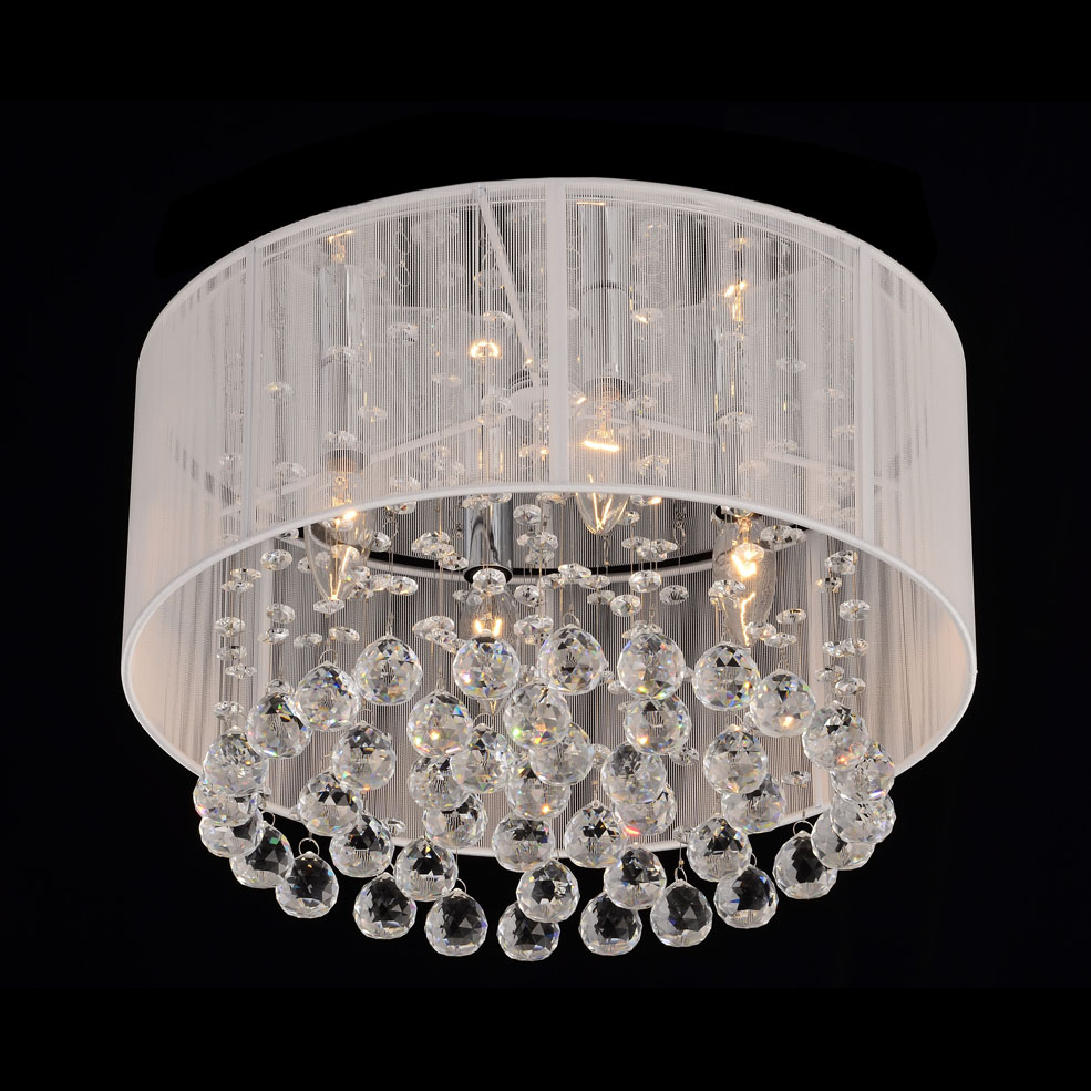 White Drum Shades Crystal Ceiling Chandelier Pendant Light Fixture Lamp