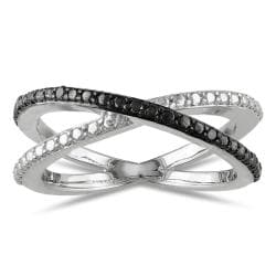 Miadora Sterling Silver Black Diamond  Ring