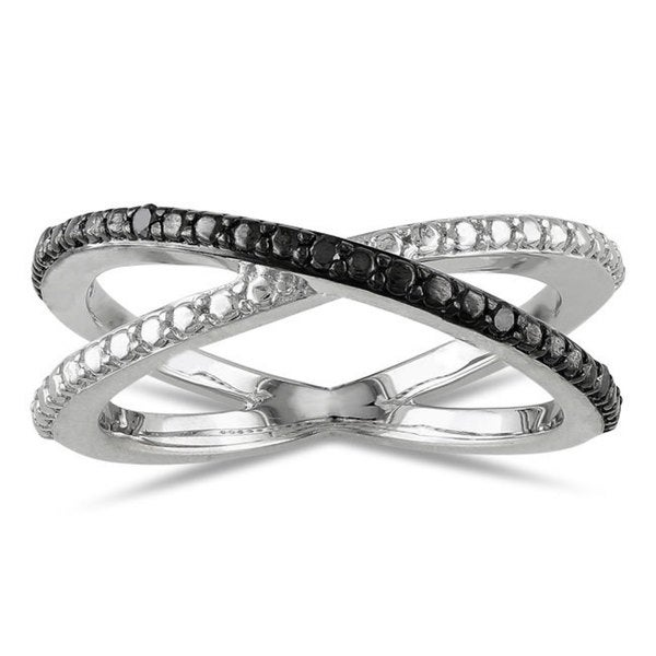 Haylee Jewels Sterling Silver Black Diamond Ring