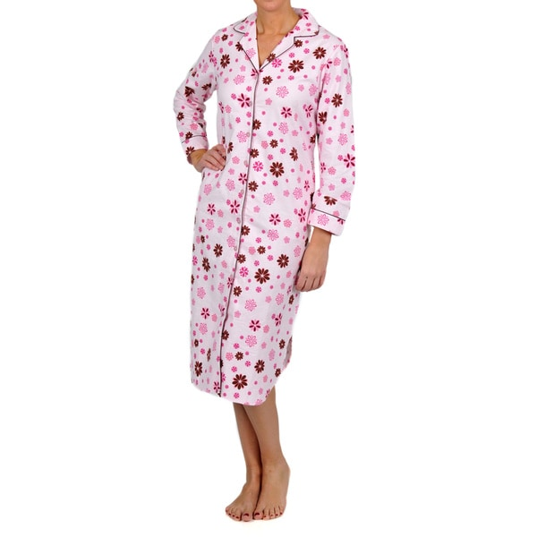 La Cera Women's Pink Floral Sleep Shirt