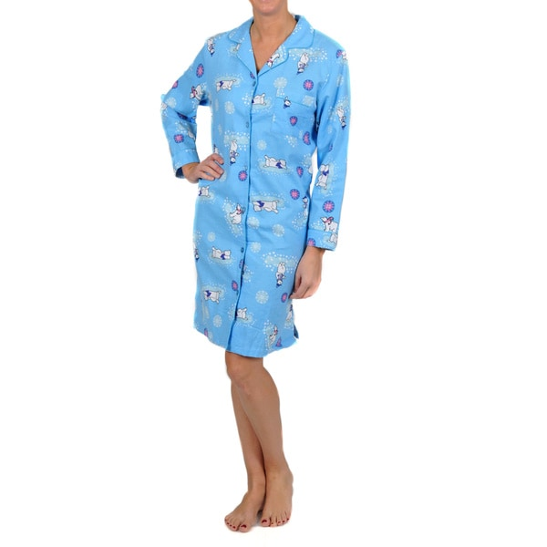 La Cera Women's Long Sleeve Blue Polar Bear Nightgown