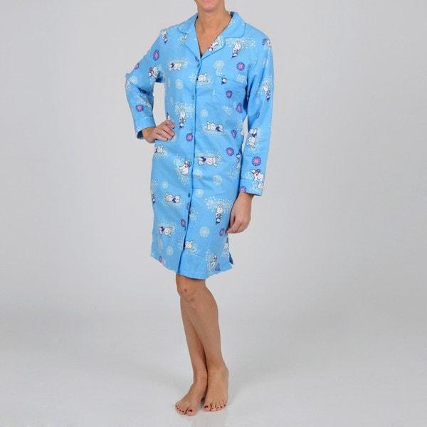 La Cera Women's Long Sleeve Blue Polar Bear Nightgown