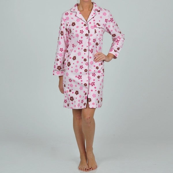 La Cera Women's Pink Floral Nightgown
