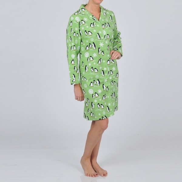 La Cera Women's Long Sleeve Lime Penguin Nightgown