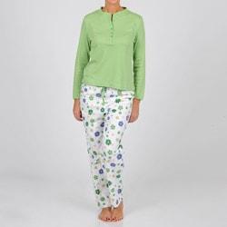 La Cera Women's White/ Green Henley Two-piece Pajama Set
