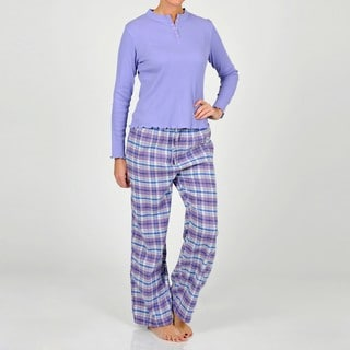 La Cera Women's Lavender Henley Two-piece Pajama Set