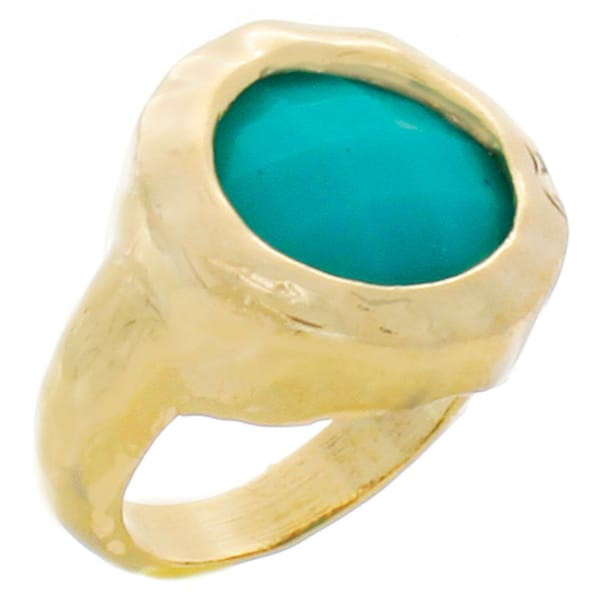 NEXTE Jewelry Goldtone Aqua Blue Faux Stone Ring