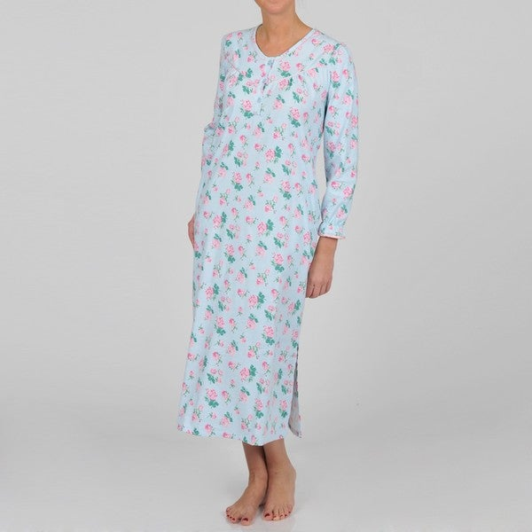 La Cera Women's Long Sleeve Flannel Rose Print Nightgown