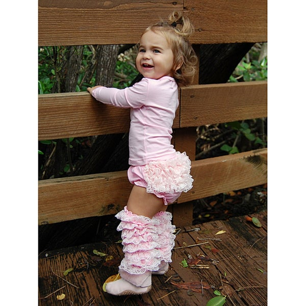 Mia Belle Baby Pink Lace Ruffled Bloomers and Leg Warmer Set