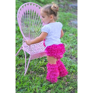 Mia Belle Baby Hot Pink Lace Ruffled Bloomers and Leg Warmer Set