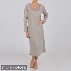 La Cera Women's Long Sleeve Crochet Yoke Nightgown
