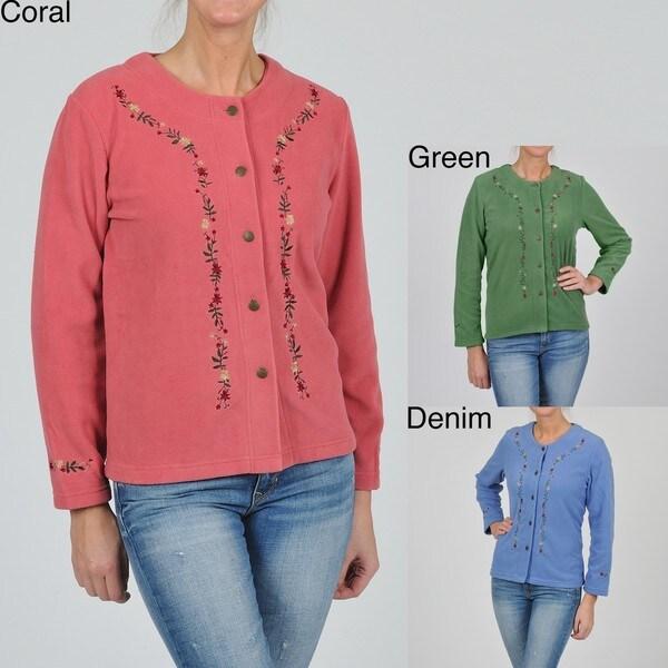 La Cera Women's Plus Size Embroidered Fleece Jacket