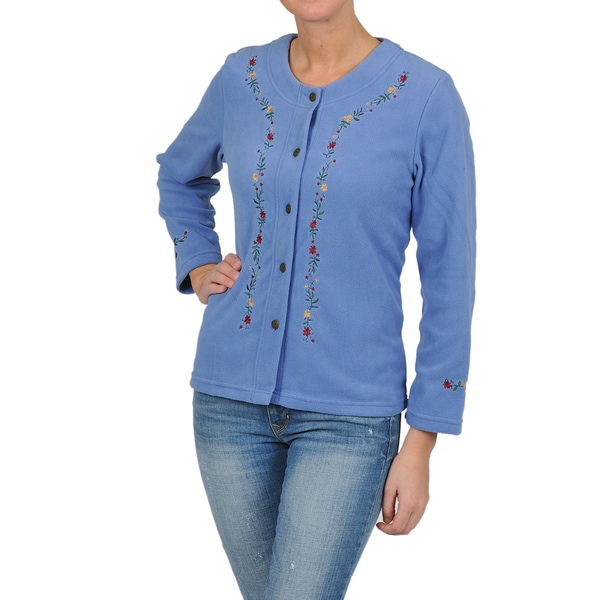 La Cera Women's Plus Size Embroidered Fleece Jacket