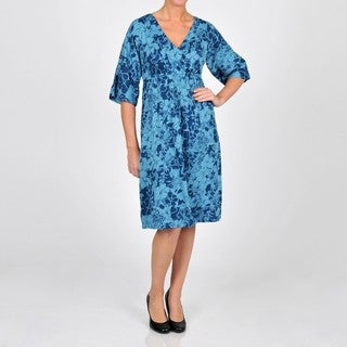 La Cera Women's Plus Size 3/4-length Sleeve V-neck Caftan Dress