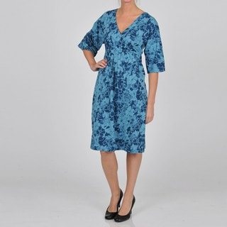 La Cera Women's 3/4-length Sleeve V-neck Caftan Dress