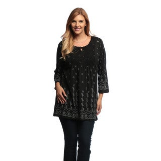 La Cera Women's Plus Size 3/4-length Sleeve Tunic Top