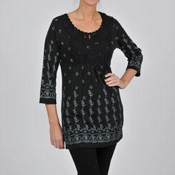 La Cera Women's 3/4-length Sleeves Tunic Top