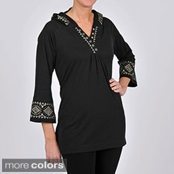 La Cera Women's 3/4-length Sleeve Embroidered Hooded Tunic