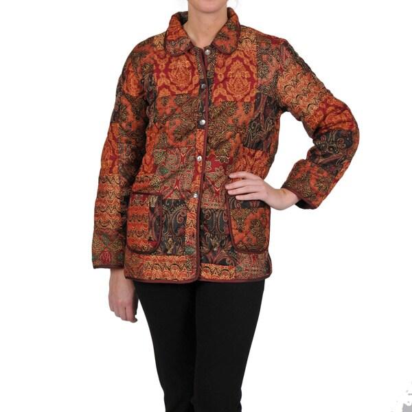 La Cera Women's Rust Quilted Patchwork Jacket