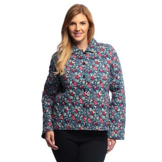 La Cera Women's Plus Size Navy Floral Quilted Cropped Jacket