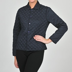 La Cera Women's Navy Floral Quilted Cropped Jacket