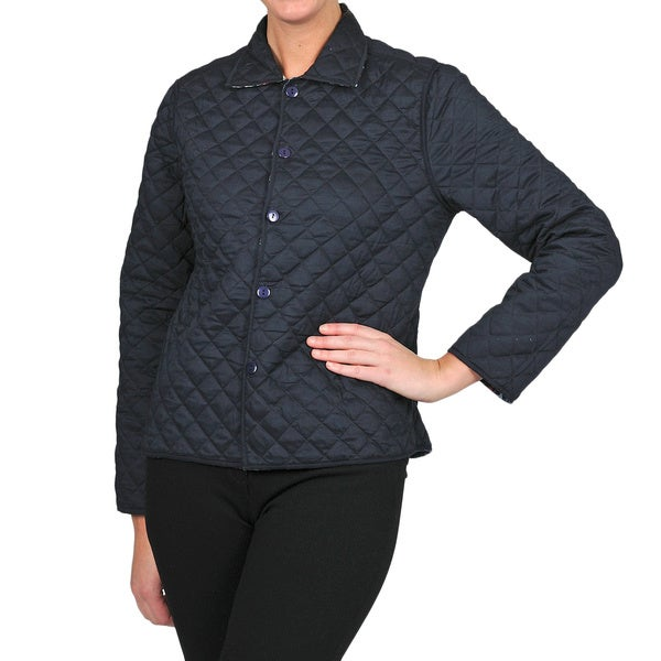 La Cera Women's Navy Floral Reversible Quilted Jacket