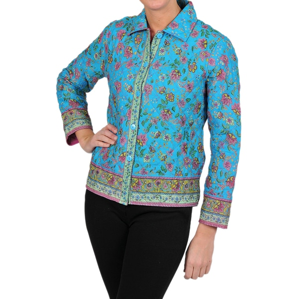 La Cera Women's Turquoise Floral Quilted Cropped Jacket