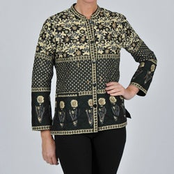 La Cera Women's Black Quilted Mandarin Collar Jacket