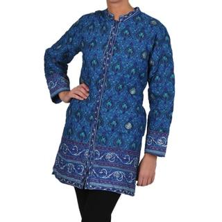 La Cera Women's Blue Quilted Knee-length Cotton Jacket