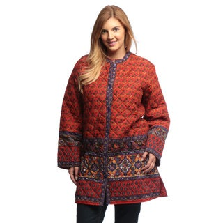 La Cera Women's Plus Size Rust Quilted Knee-length Cotton Jacket