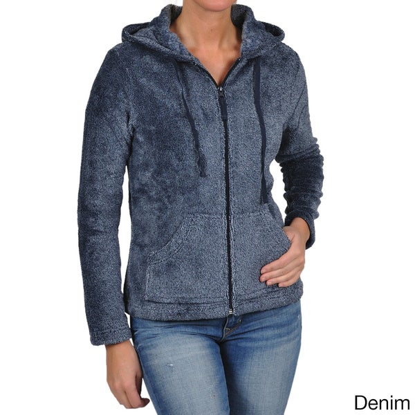 La Cera Women's Luxury Plush Heather Hooded Fleece Jacket