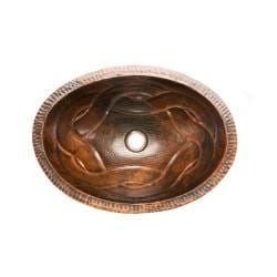 Oval Braid Under Counter Hammered Copper Sink