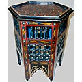 Arabesque Wooden Blue Moroccan Star End Table (Morocco)