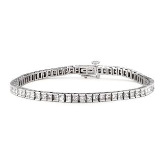 14k White Gold 4ct TDW Certified Princess-cut Diamond Tennis Bracelet (H-I, I1)