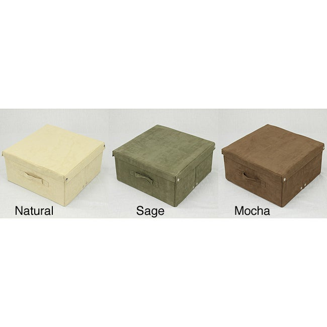Medium Covered Foldable Microsuede Storage Box (30-pound Capacity)