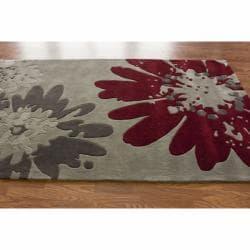 nuLOOM Handmade Floral Grey Rug (7'6 x 9'6)