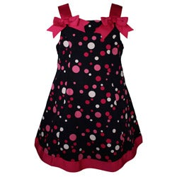 Bonnie Jean Navy Blue Polka Dot Toddler Dress