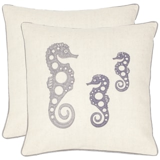 Safavieh Seahorse Family 18-inch Cream/ Blue-Grey Decorative Pillows (Set of 2)