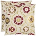 Safavieh Floral Bed 18-inch Cream/ Red Decorative Pillows (Set of 2)