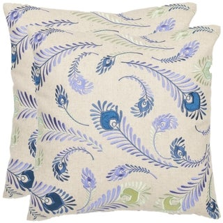 Safavieh Peacock Feathers 18-inch Cream/ Blue Decorative Pillows (Set of 2)
