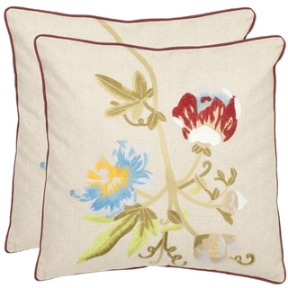 Blossoms 18-inch Cream Decorative Pillows (Set of 2)