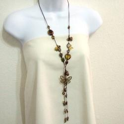 Goldtone Butterfly Romance Cotton Rope Lariat Necklace (Thailand)