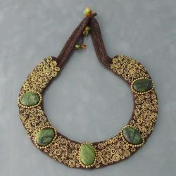 Brass Green Jasper Mosaic Spiral Cotton Rope Necklace (Thailand)