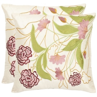 Safavieh Rose Garden 18-inch Cream/ Pink Decorative Pillows (Set of 2)
