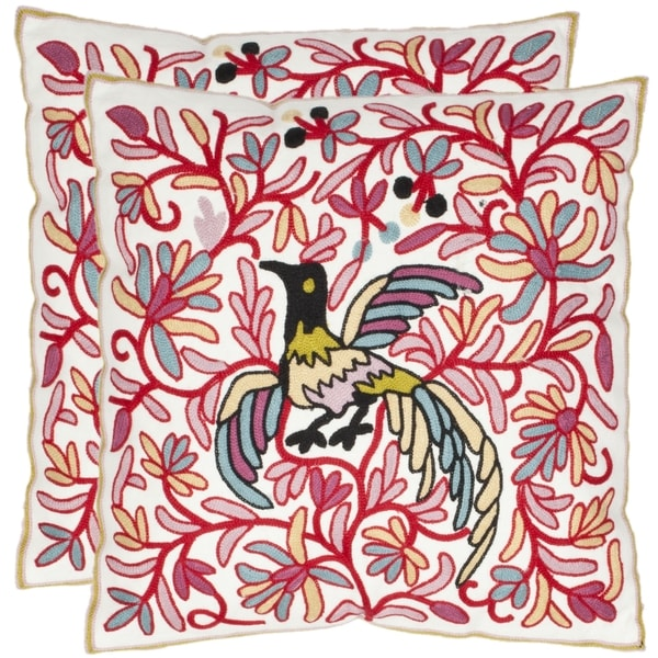 Safavieh Avian 18-inch Cream/ Red Decorative Pillows (Set of 2)