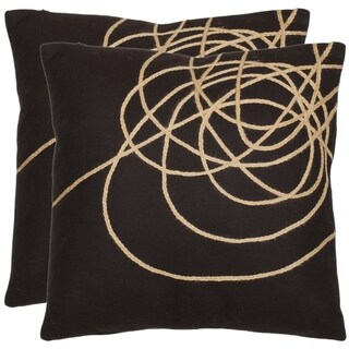 Swirls 18-inch Brown/ Tan Decorative Pillows (Set of 2)